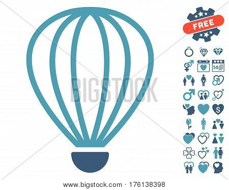 Aerostat pictograph with bonus dating clip art. Vector illustration style is flat iconic cyan and blue symbols on white background.