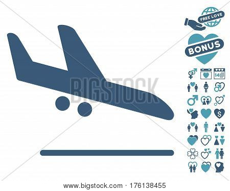 Aiplane Landing icon with bonus lovely images. Vector illustration style is flat iconic cyan and blue symbols on white background.