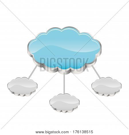 cloud storage connected with several server vector illustration