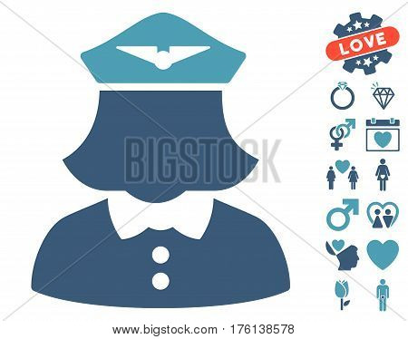 Airline Stewardess icon with bonus dating symbols. Vector illustration style is flat iconic cyan and blue symbols on white background.