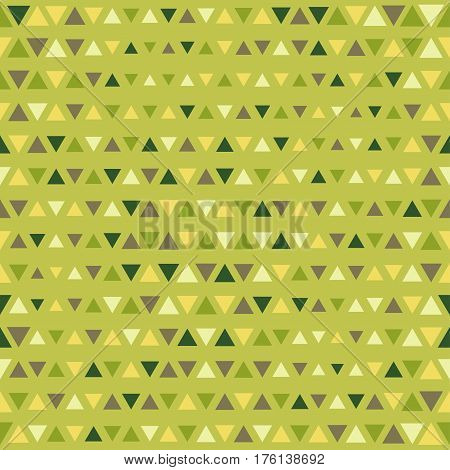 Abstract Triangle Geometrical Multicolored Background. Seamless Green Pattern.