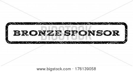 Bronze Sponsor watermark stamp. Text caption inside rounded rectangle with grunge design style. Rubber seal stamp with dust texture. Vector black ink imprint on a white background.