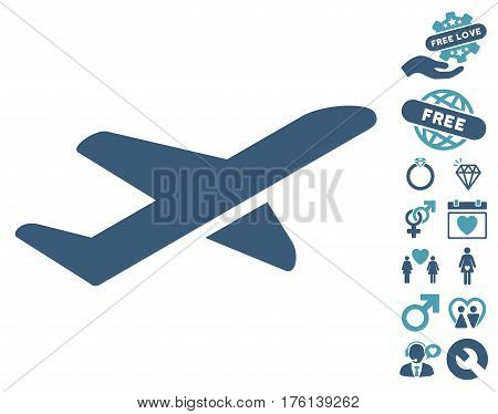 Airplane Takeoff icon with bonus lovely clip art. Vector illustration style is flat iconic cyan and blue symbols on white background.