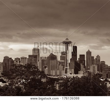 Space Needle and Seattle downtown skyline from Kerry Park.