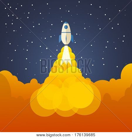 Rocket And The Space. Evening Rocket Launch. Concept.  Start Up, Business And Promotion For Success.