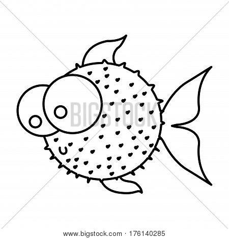 silhouette blowfish aquatic animal icon vector illustration