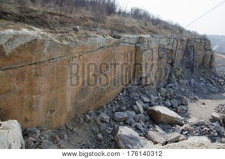 part of a cliff in a quarry