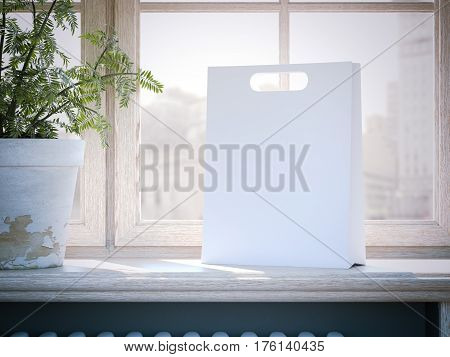 White shopping bag on a wooden window sill. 3d rendering