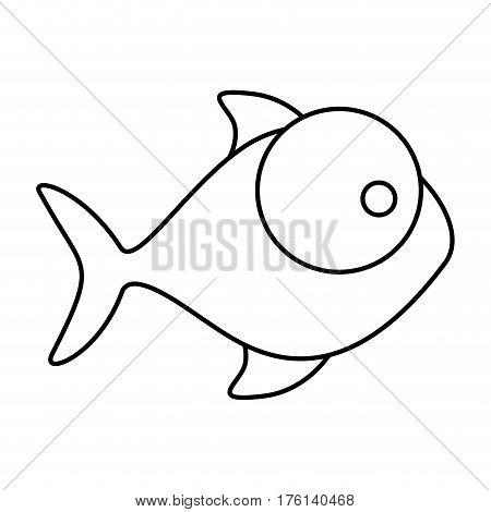 silhouette fish aquatic animal icon vector illustration