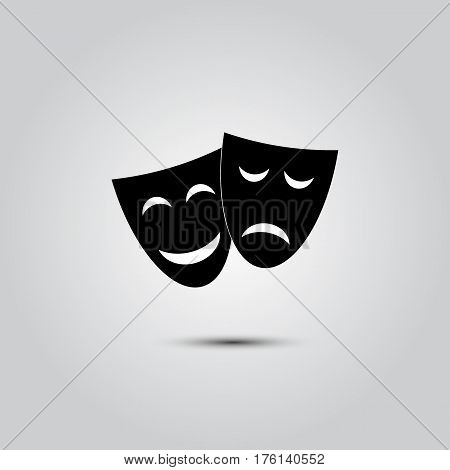 Dramatic masks - icons isolated on white background. Vector art.