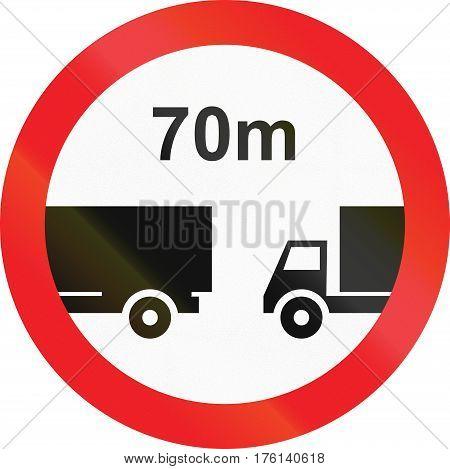 Road Sign Used In Cyprus - Minimum Distance Between Trucks