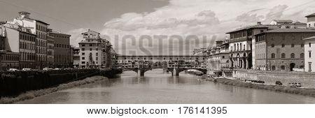Ponte Vecchio over Arno River panorama in Florence Italy.