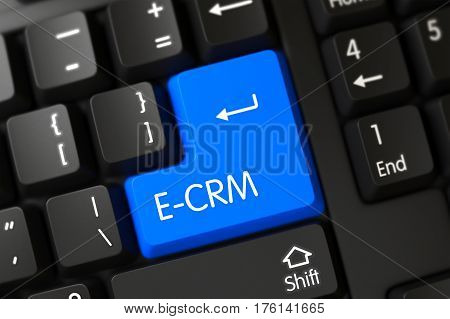 PC Keyboard with the words E-CRM on Blue Keypad. 3D Illustration.