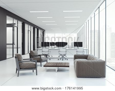 Bright office interior with workspaces. 3d rendering