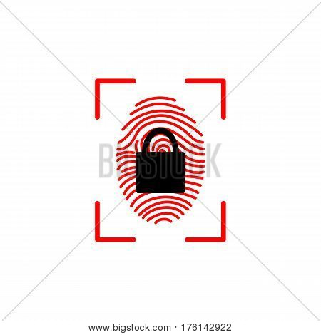Vector Touch id Fingerprint icon. Touch id Fingerprint simple icon on a light balck background