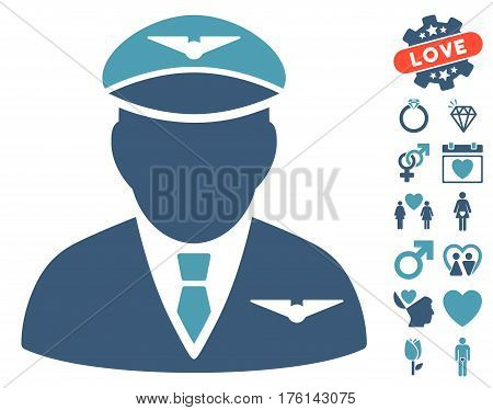 Pilot icon with bonus love pictograph collection. Vector illustration style is flat iconic cyan and blue symbols on white background.