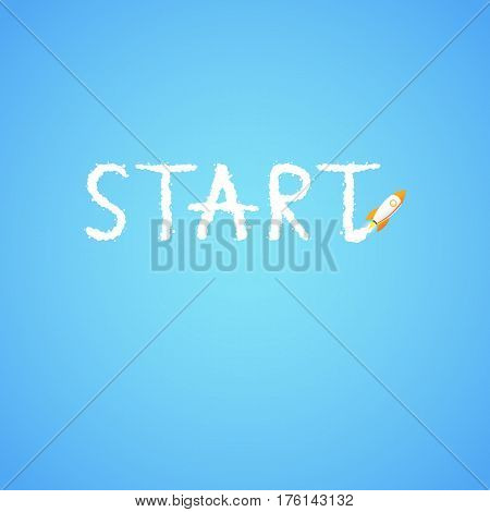 Rocket And The Space. The Rocket Flies Making The Word Start. Concept.  Start Up, Business And Promo