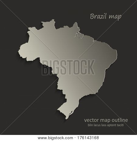 Brazil map outline card blank black vector