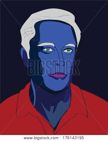 13 Mar, 2017: Famous SpaceX founder, Elon Musk Fantasy Vector portrait as an blue avatar.
