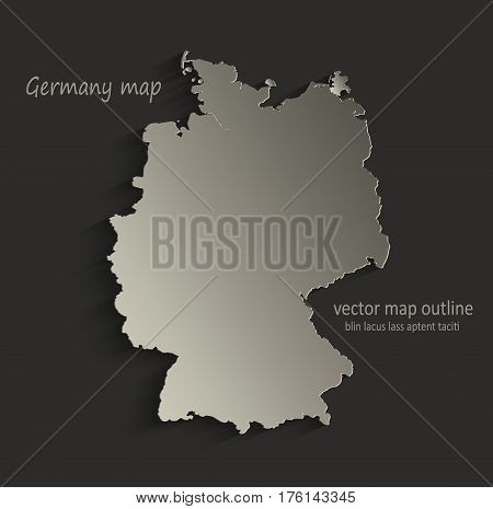 Germany map outline card blank black vector