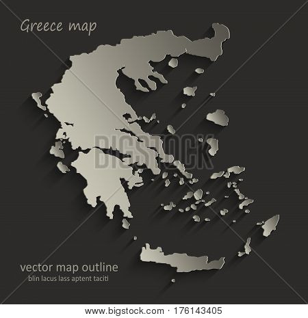 Greece map outline card blank black vector