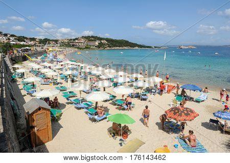 Baia Sardinia Beach On Sardinia, Italy