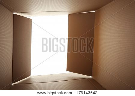 View from open carton box