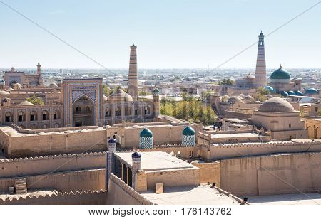 View of the ancient fortress of Ichan Kala from the observation deck. Khiva Uzbekistan