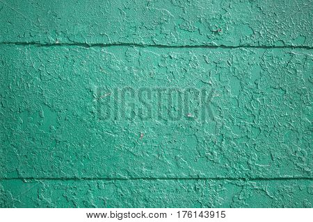 Texture of the old cracked turquoise color paint.
