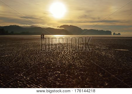 Two human figures in backlit on the beach after the tide