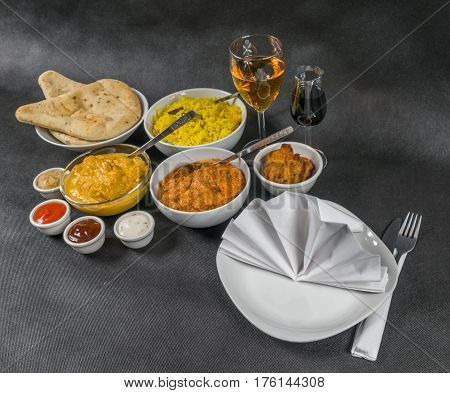 Oriental Indian Set, Chicken Korma, Chicken Tikka Masala, Pilau Rice, Naan Bread And Onion Bhaji, Fo