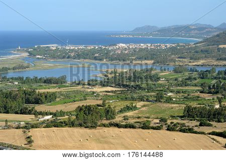 View at La Caletta and San Giovanni on the island of Sardinia, Italy