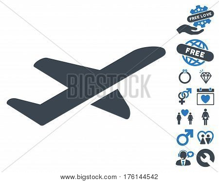 Airplane Takeoff pictograph with bonus love clip art. Vector illustration style is flat iconic smooth blue symbols on white background.