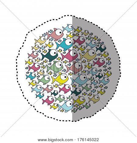 sticker colorful circular pattern fish aquatic animal vector illustration