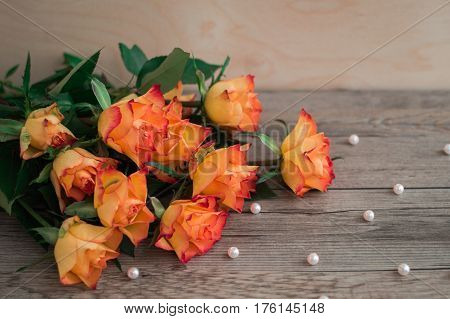 Orange roses on a wooden background and scattered beads of pearls. A beautiful bouquet of roses. The best present on birthday.