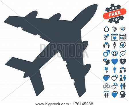 Bomber pictograph with bonus dating design elements. Vector illustration style is flat iconic smooth blue symbols on white background.