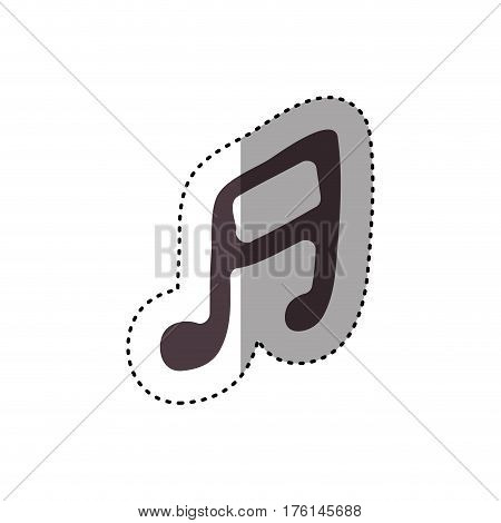 sticker hand drawing silhouette musical note icon vector illustration