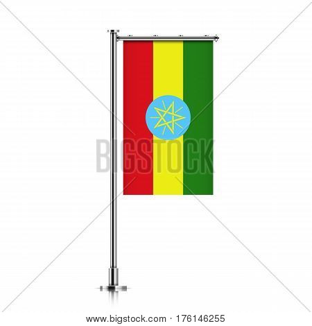 Vector banner flag of Federal Democratic Republic of Ethiopia hanging on a silver metallic pole. Ethiopia vertical flag template isolated on a white background.