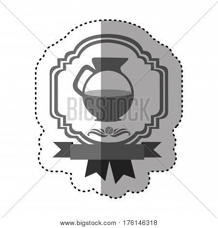 sticker gray scale border heraldic decorative ribbon with jar of coffee with handle vector illustration