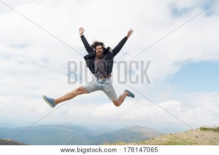 Bearded Man, Brutal Caucasian Hipster With Moustache Jump On Mountain