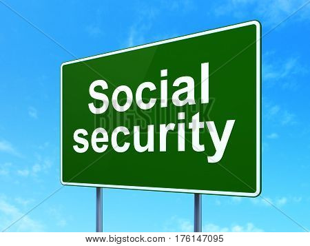 Security concept: Social Security on green road highway sign, clear blue sky background, 3D rendering