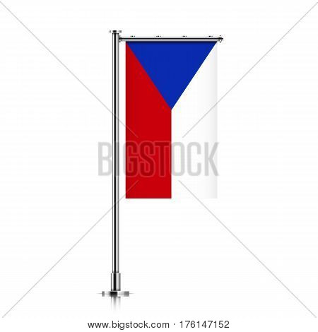 Czech republic vector banner flag hanging on a silver metallic pole. Czech republic vertical flag template isolated on a white background.