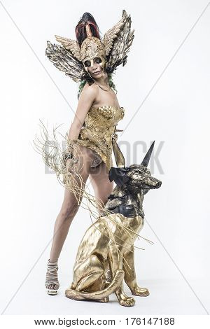 Nymph, Deity, beautiful woman with green hair in golden goddess armor. Fantasy warrior