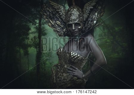 Forest, Deity, beautiful woman with green hair in golden goddess armor. Fantasy warrior