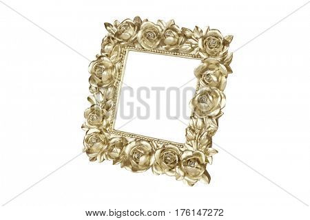 Gold picture frame with rose decor, clipping path included.