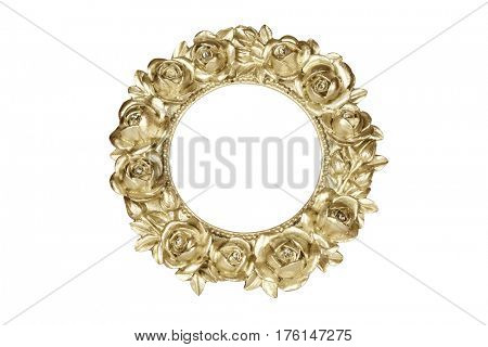 Gold oval picture frame with rose decor, clipping path included.