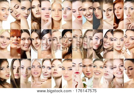 Set of beautiful women's studio portraits. 39 different female faces. Caucasian, asian, african and latino amazing women. Beauty.