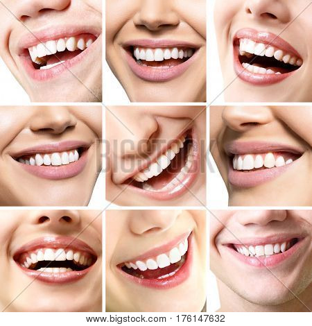 Beautiful smiles set. Perfect wide smiles with great healthy white teeth, over white. Dental care, whitening, stomatology, restoration of teeth, prosthetics, oral hygiene concept. Smiley faces details