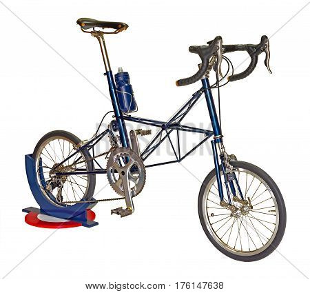 close up blue bicycle isolated on a white background with clipping path