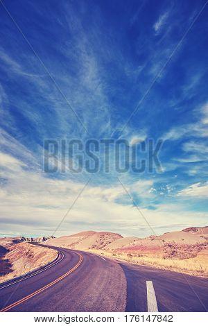 Vintage Toned Road In Badlands National Park, Usa.